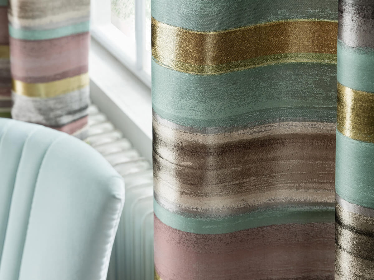 Curtains for interiors, curled curtain, roman blind, with linen, cotton, silk and velvet fabrics