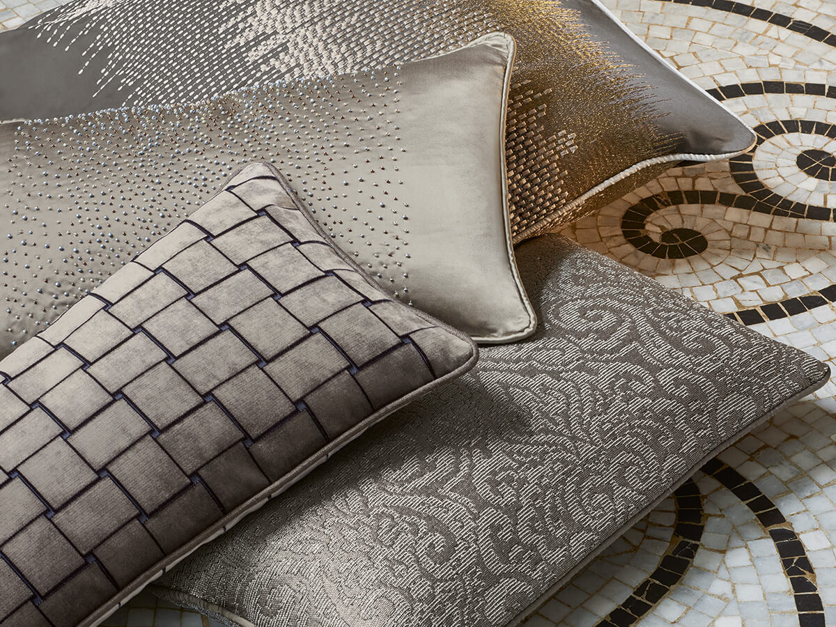 Hand-embroidered luxury fabric cushions, Florence. Zefiro Interiors, the professionals in luxury linen Florence and Tuscany